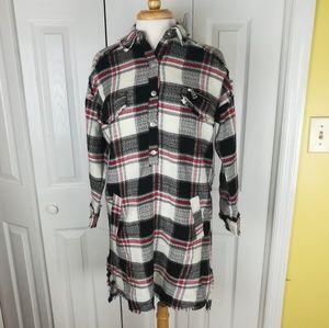 Zara Basic woven plaid mini dress with pockets